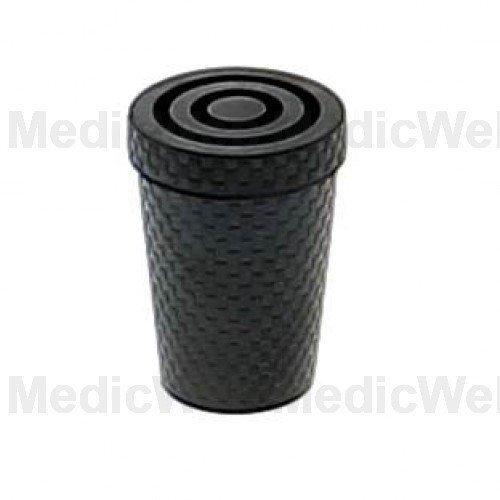 Embout en caoutchouc noir pour canne en métal