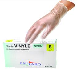 Gants d'examen vinyle poudrés
